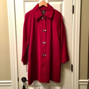 London Fog red raincoat.